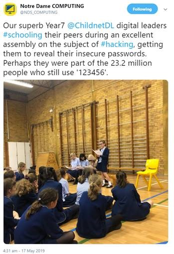 Tweet from Notre Dame Senior School Digital Leaders