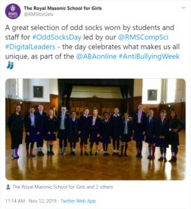 Royal Masonic Anti-Bullying Week 2019 tweet