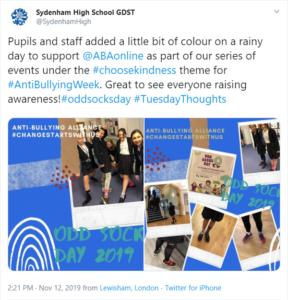 Sydenham High Anti-Bullying Week 2019 tweet